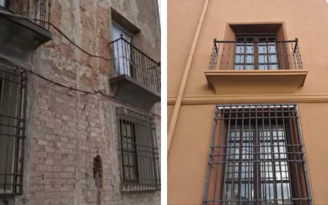 Revestimiento de fachada Sistema Biocalce + Ciclo Pictórico Kerakoll en casco antiguo de Calahorra